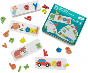 Joc Puzzle Litere din Lemn Mntessori - Puzzle Alfabet din lemn Carti Flash.8