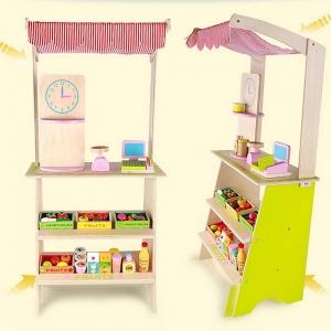Stand din lemn cu accesorii - Supermarket din lemn  copii2