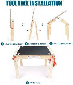 Tabla din lemn 2 in 1 transformabila, Birou - Tabla de lemn educativa Topbright 2 in 15