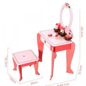 Set Masa de toaleta cu scaun si oglinda pentru fetite din lemn - Masuta infrumusetare copii din lemn6