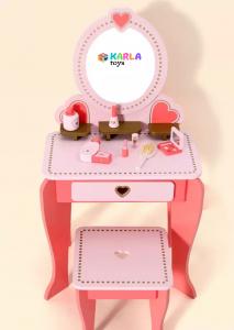 Set Masa de toaleta cu scaun si oglinda pentru fetite din lemn - Masuta infrumusetare copii din lemn5