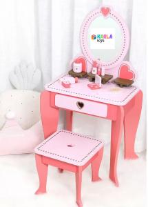 Set Masa de toaleta cu scaun si oglinda pentru fetite din lemn - Masuta infrumusetare copii din lemn9
