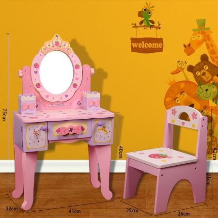 Masuta cu Scaun si Oglinda din Lemn pentru Copii Accesorii1