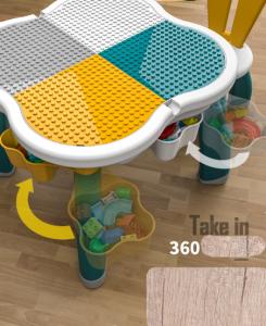 Masuta tip lego duplo cu scaun Iepuras 100 piese mari19