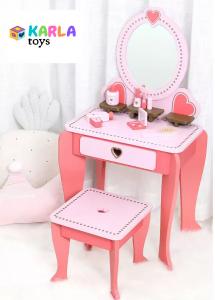 Set Masa de toaleta cu scaun si oglinda pentru fetite din lemn - Masuta infrumusetare copii din lemn10