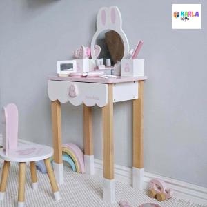 Set Masa si scaun Iepuras din lemn Nunukids1
