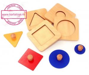 Puzzle Forme Geometrice  Educatia Montessori  Set 4 Puzzle0