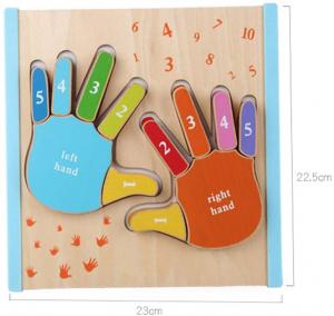 Joc Puzzle Lemn Montesorii 3D Palma - Puzzle Lemn 3D Numarul Degetelor6