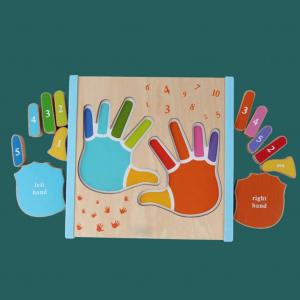 Joc Puzzle Lemn Montesorii 3D Palma - Puzzle Lemn 3D Numarul Degetelor0