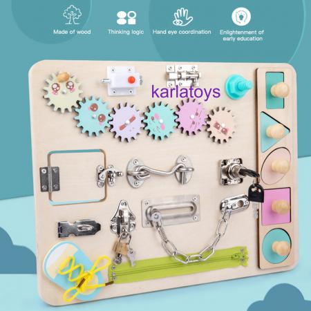 Placa Lemn Senzoriala Copii cu Activitati Montessori Busy Board