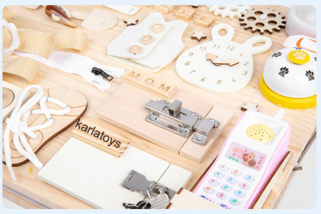 Placa din lemn Montessori Senzoriala Incuietori Busy Board 2 in 1 [6]