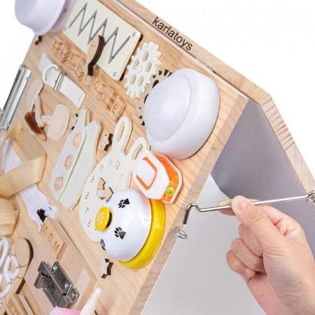 Placa din lemn Montessori Senzoriala Incuietori Busy Board 2 in 1 [8]