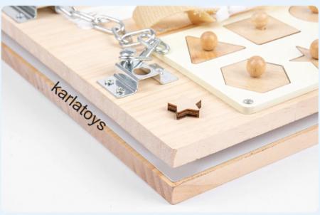 Placa din lemn Montessori Senzoriala Incuietori Busy Board 2 in 1 [5]