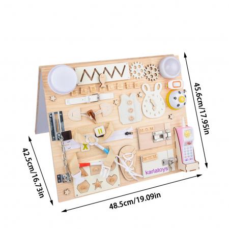 Placa din lemn Montessori Senzoriala Incuietori Busy Board 2 in 1 [9]