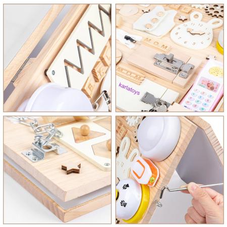 Placa din lemn Montessori Senzoriala Incuietori Busy Board 2 in 1 [10]