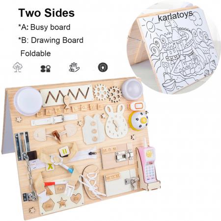 Placa din lemn Montessori Senzoriala Incuietori Busy Board 2 in 1 [0]