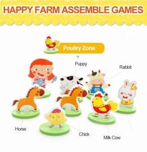 Joc puzzle 3D cu Animale din Lemn Ferma Animalelor3