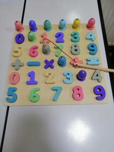 Puzzle din Lemn 3D Cifre si Joc de Pescuit  3D - Joc lemn Puzzle Cifre 2 in 12
