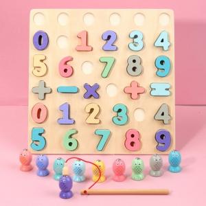 Puzzle din Lemn 3D Cifre si Joc de Pescuit  3D - Joc lemn Puzzle Cifre 2 in 10