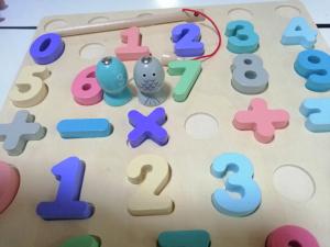 Puzzle din Lemn 3D Cifre si Joc de Pescuit  3D - Joc lemn Puzzle Cifre 2 in 15