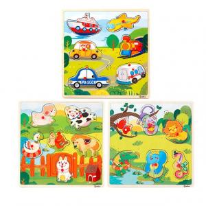 Puzzle din lemn cu sunete Animale - Vehicole - Animale jungla0