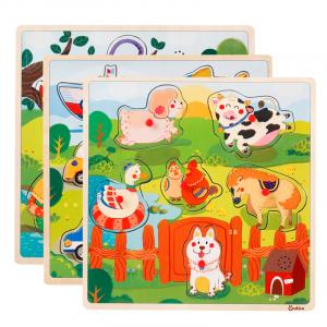 Puzzle din lemn cu sunete Animale - Vehicole - Animale jungla2