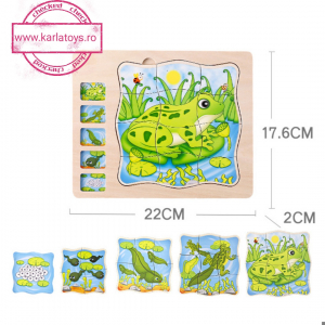 Puzzle din lemn in straturi Ciclul vietii Onshine Broascuta - Fluturas0