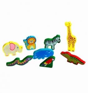 Puzzle lemn 3D Animale Jungla3