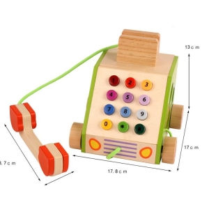Jucarie din Lemn Telefon cu Forme si Cifre3