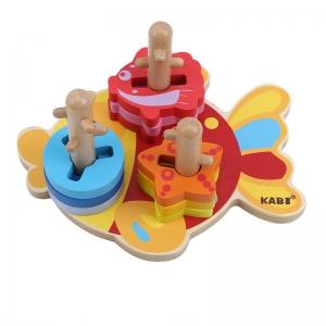Joc Educativ Puzzle Recunoasterea Formei din Lemn Pestisorul Kabi1