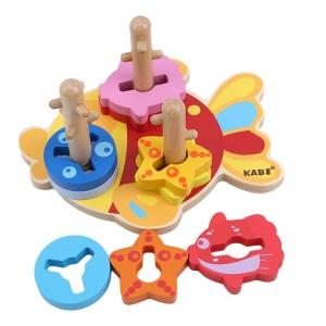 Joc Educativ Puzzle Recunoasterea Formei din Lemn Pestisorul Kabi0