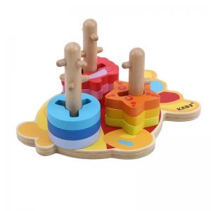 Joc Educativ Puzzle Recunoasterea Formei din Lemn Pestisorul Kabi3