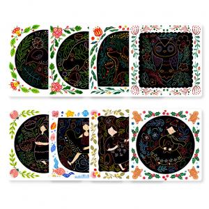 Set Creativ Planse de razuit Mideer - Scratch art card Mideer2