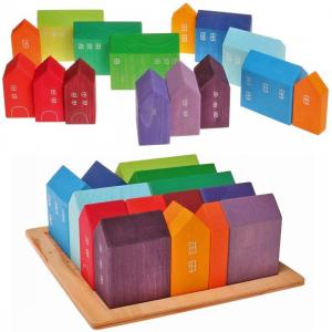 Set Cuburi Lemn Orasul Curcubeu - Rainbow House set 15 piese0
