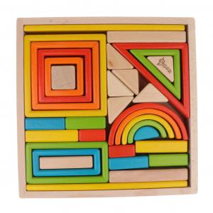 Cuburi din Lemn Stivuire Curcubeu - Set Cuburi Montessori Rainbow7