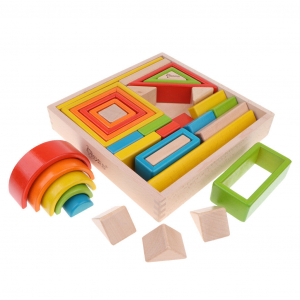 Cuburi din Lemn Stivuire Curcubeu - Set Cuburi Montessori Rainbow1
