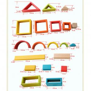 Cuburi din Lemn Stivuire Curcubeu - Set Cuburi Montessori Rainbow3