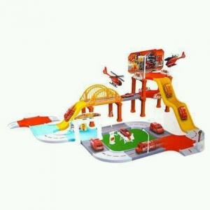 Set de construit cu masinute si elicopter Sectia de pompieri [0]