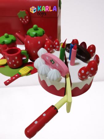 Set din lemn Cutia de picnic Capsuni Ceai si Tort4