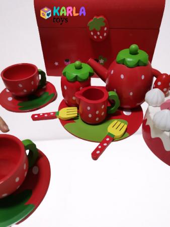 Set din lemn Cutia de picnic Capsuni Ceai si Tort3