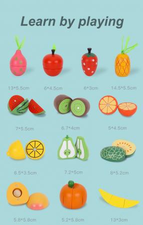 Set Lada cu fructe si legume de feliat din lemn Jumbo 30 piese2