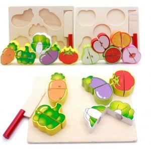 Set 2puzzle din Lemn Legume si Fructe [0]