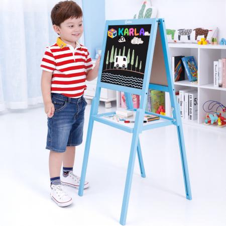 Sevalet copii din lemn Tabla de Desen magnetica cu 2 fete Onshine0