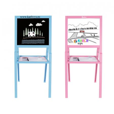 Sevalet copii din lemn Tabla de Desen magnetica cu 2 fete Onshine2
