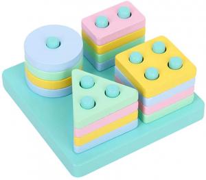 Set 2 Sortator Culori din Lemn Pastel 4 coloane3