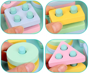 Set 2 Sortator Culori din Lemn Pastel 4 coloane2