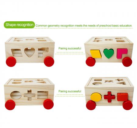 Joc din lemn cutie sortator forme geometrice cu roti3