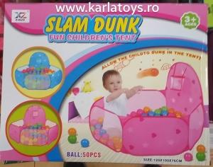 Tarc 50 Bile Colorate si mini cos de baschet - Tarc Bebe 50 bile Slam Dunk0