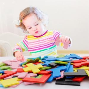 Joc Montessori Tetris din Lemn 114 piese0