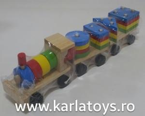 Trenulet  din lemn cu forme geometrice4